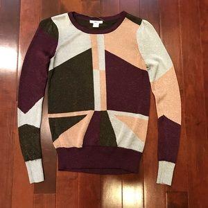 bar III Sparkle Pullover Colorblock Sweater